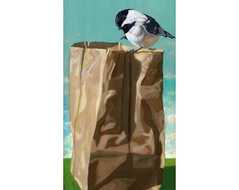 Cute Chickadee realistic bird portrait on brown paper bag print from original painting