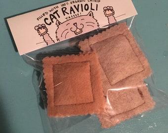 Cat Ravioli Felt Handsewn Catnip Toy