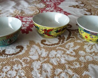 Three vintage bowls,asian porcalain, dinnerware, floral motifs