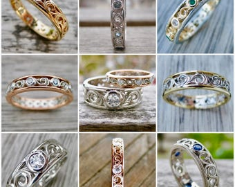 Order Your Custom Made Wedding or Anniversary Ring with Scroll Work and Gems Here - For Deposit Only