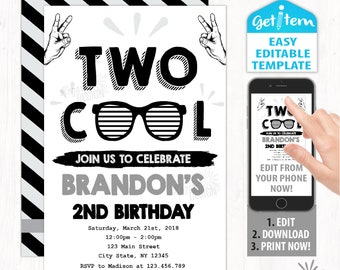 Cool invitation etsy two cool birthday invitation two cool birthday party invitation two cool party editable invitation edit with your phone id tbi181 filmwisefo