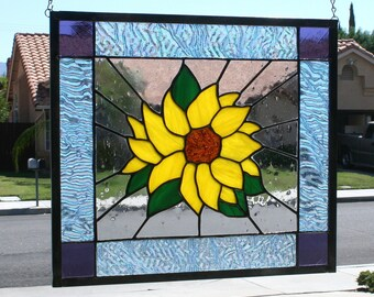 Stained Glass Window Panel~SUMMER SUNFLOWER~Large Stained Glass Panel, Stain Glass Panel, Sunflower, Yellow, Green, Clear, Blue, Purple