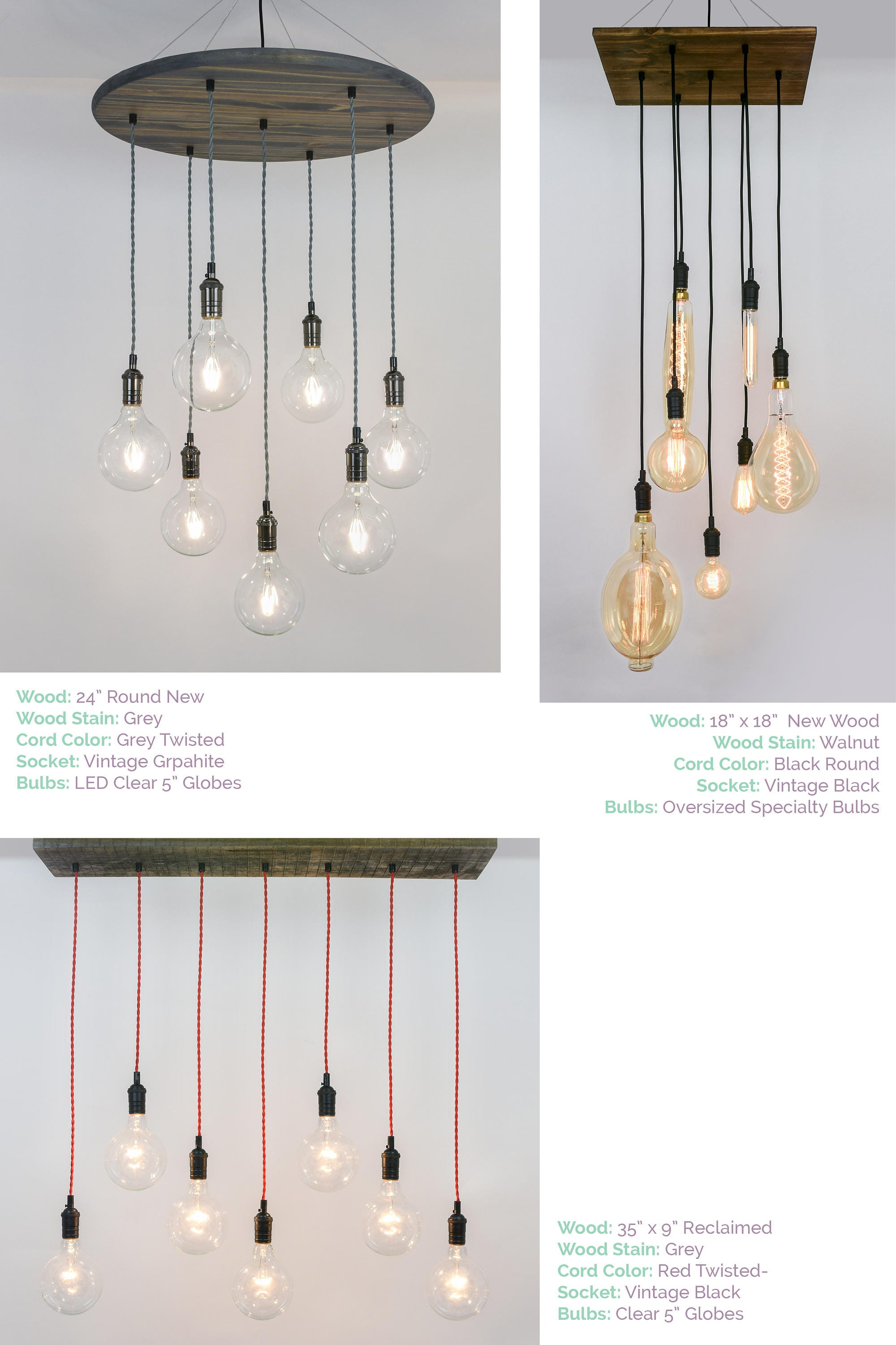 Modern Wood Chandelier Custom made any colors small dining
