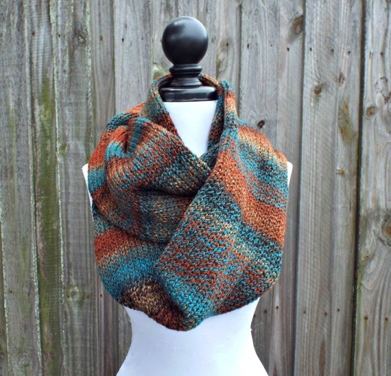 Double Knit Infinity Scarf Womens Knit Circle Scarf - Chocolate Brown Rust Teal Scarf - Chunky Scarf Womens Accessories