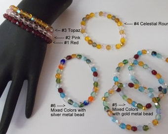 Stretchy Fire Polished Faceted Czech glass bracelets ...  will fit small wrists, very small wrists ... item #b26-35