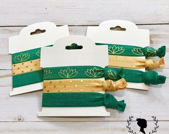 Green and Gold Lotus Hair Tie Set