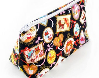 JULY PREORDER Cosmetic pouch bag with black picture frame lolita print japanese fabric make up case gift bag travel kit toiletry zipper