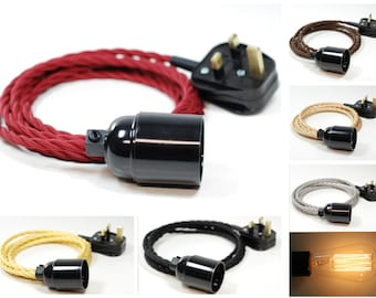 4m Twisted Fabric Flex Cable Plug In Industrial Vintage Pendant Lamp Light Set E27 Fitting & 40w Vintage Edison Bulb