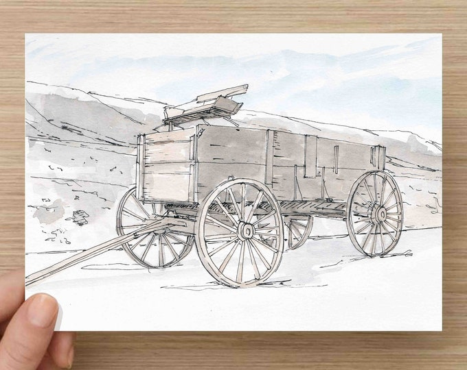 Watercolor Painting of Horse Wagon in Yellowstone National Park - Antique, Ink Drawing, Sketch, Watercolor, Art, Pen and Ink, 5x7, 8x10