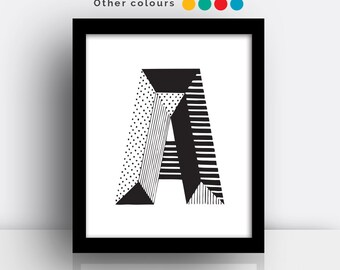 Letter A print - hand drawn typeface