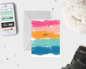 YAY Card / Congratulations Greeting Card Congrats Watercolour Multicoloured Colors Excitement Colourful Greeting Card Birthday Graduation