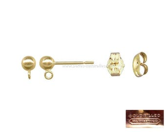 Gold Filled - 4mm ball earstuds : 2 or 10