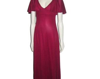 Vintage Wine V-Neck Overlay Flounce Sleeveless Empire Waist Long Flare Maxi Disco Mod Dress