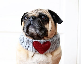 Custom Sweetheart Dog Neck Warmer - Dog Scarf - Pet Clothing - Dog Clothing - Dog Valentine's Day Gift - Valentine Gift - Dog Engagement