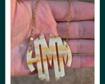 "BEST SELLER! Acrylic Monogram Necklace - 2"" Horn Monogram Necklace for Graduation, Birthdays, Wedding Party Gifts - Christmas Present Idea"