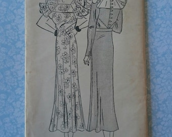 "B38"" 1930s Dress -Duchess de Crussol pattern- Pictorial Review pattern 6459 UNCUT"