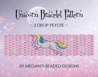Unicorn Bracelet Pattern - Peyote - Bracelet Pattern - 2 Drop