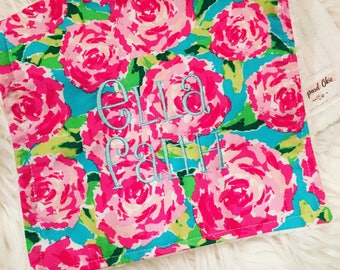 Pink floral burp cloth, personalized, baby girl