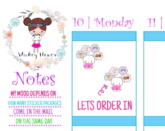 Blossom Bear - Take Out, Cute Stickers for Personal planners, Erin Condren Life Planner, Happy Planner or Scrapbooking