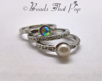 Stackable Ring Set, Pewter Rings with Glass Beads, Size 8, Handmade, Great Gift!!