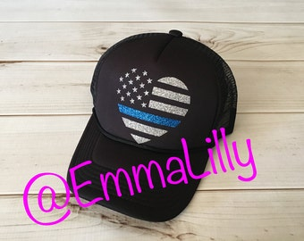 Police heart flag hat