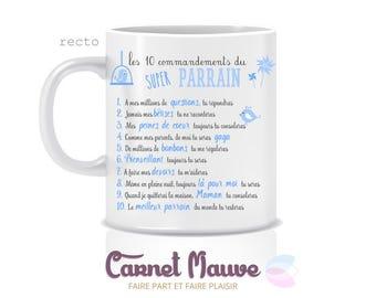"Gift godfather or godmother mug ""10 commandments"""