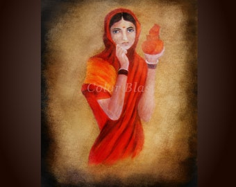 INDIART- Lady with the Pot- Art Print- Free Shipping inside US.