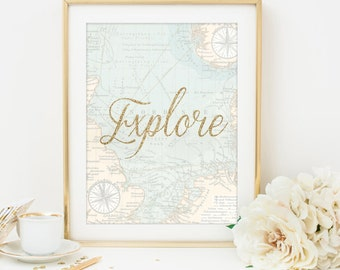 explore print explore quote vintage map print travel printable travel quote map wall art map art printable map 8 x 10 digital download