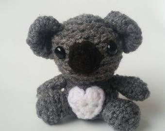 Mini Crochet Koala Bear, Stuffed Animal Koala, Mini Plush Koala, Kid's Birthday Gift, Woodland Animal Toy, Gifts under 30, Amigurumi Koala