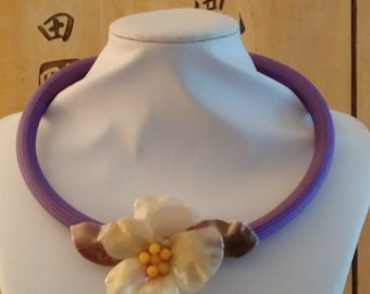 Dark Wisteria cotton choker with real thought Violet