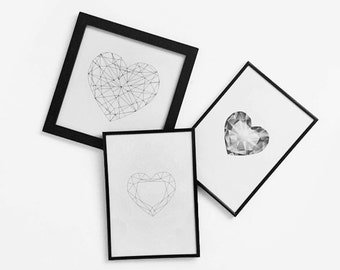 PRINTABLE Geometric Hearts Posters Set of 3 / A4 sizes / DIY Black and White Modern Scandinavian Prints for Your Home