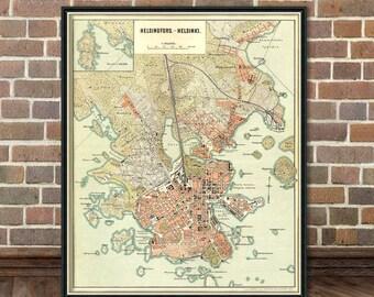Map of Helsinki  - Helsingfors map - Old city map print - Helsingin kartta - Fine print
