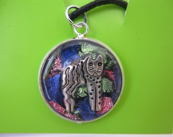 Cat Charm on a Faux Dichroic Abstract Mosaic Pattern   Necklace Pendant   #3