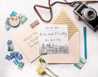 New York City Skyline Wedding Save the Dates | Brooklyn Bridge Square NYC Wedding Invitations