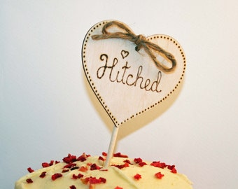 Rustic Cake Topper Wooden Wedding Cake Topper Hitched small cake topper