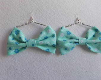 Bow tie liberty fabric chain earring