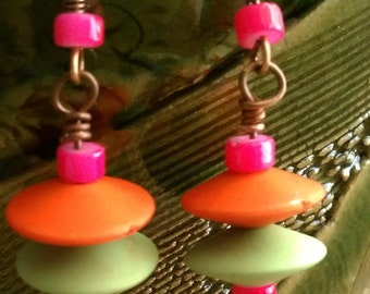 Sassy double saucer earrings with copper earwires