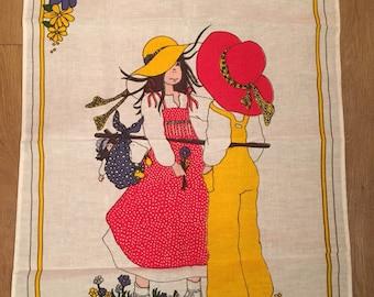 Hollie Hobbie type 1970's tea towel- collectable