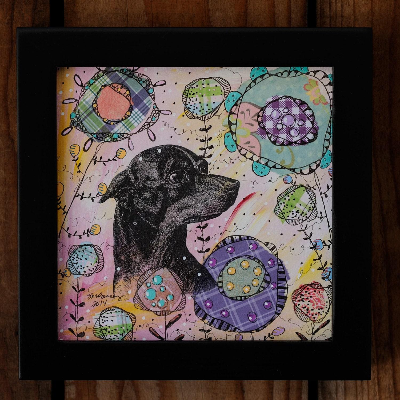 6 del marco de Chihuahua x 6 técnica mixta Collage