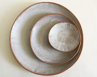 Ceramic Dinner Plates, Salad and Dessert Plates, Tapas Plates, Made to Order Handmade Stoneware Pottery Dishes in White Wash Matte Glaze
