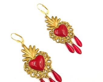 Sacred Heart earrings, baroque earrings, Ex Voto earrings, votive heart earrings, vintage heart earrings. READY TO SHIP