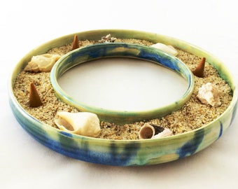 BLUE CLAY RING Multi Purpose Art, Includes Soothing Vanilla Incense/Sand/Shells - Also Use to Surround Candles, Presenting Food or Flowers