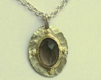 Smoky quartz necklace, silver gold necklace, gypsy necklace, boho pendant, two tone pendant, Bridal necklace - Behind the scenes N8853X-1