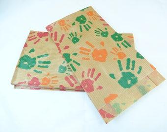 "set of 10 bags kraft ""multicolored hands"""