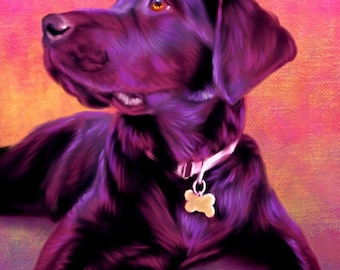 Chocolate Labrador Portrait, Chocolate Lab Art, Chocolate Labrador Painting example