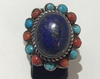 Ring silver Lapis lazulis, turquoise and coral 925 silver ring, french size 61, us 9 3/4