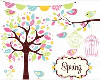 Clipart - Bohemian Spring Garden Clip Art / Digital Clipart - Instant Download - Digital Clip Art (Instant Download)