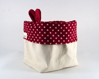Fabric Basket/Fabric Bin/Storage Basket/Storage Bin/Nursery/Housewarming/Small Bin/Baby Shower/Plant Bin/Red/Polka Dots/Nursery Storage