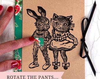CAHIER A5/ Cahier marrant/ idée cadeau originale/ Cahier chat/ Cahier lapin/ vintage cahier/ culotte rotative