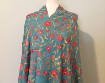 Stole/Shawl/Wrap/ Kashmiri Floral Embroidery/Wool and Silk Blend/Turquoise